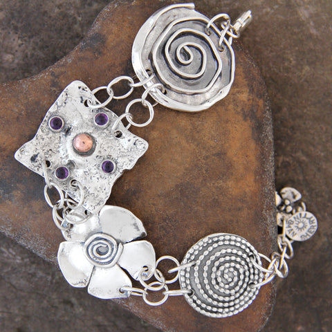 Copper & Sterling Silver Four Element Bracelet with Garnet or Amethyst
