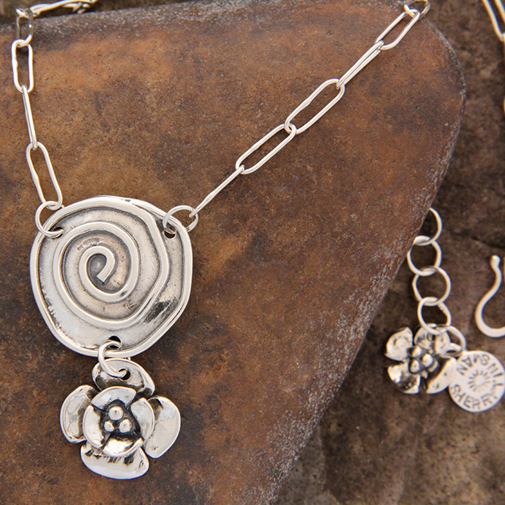 Sterling Silver Spiral Necklace with Double Dogwood Drop