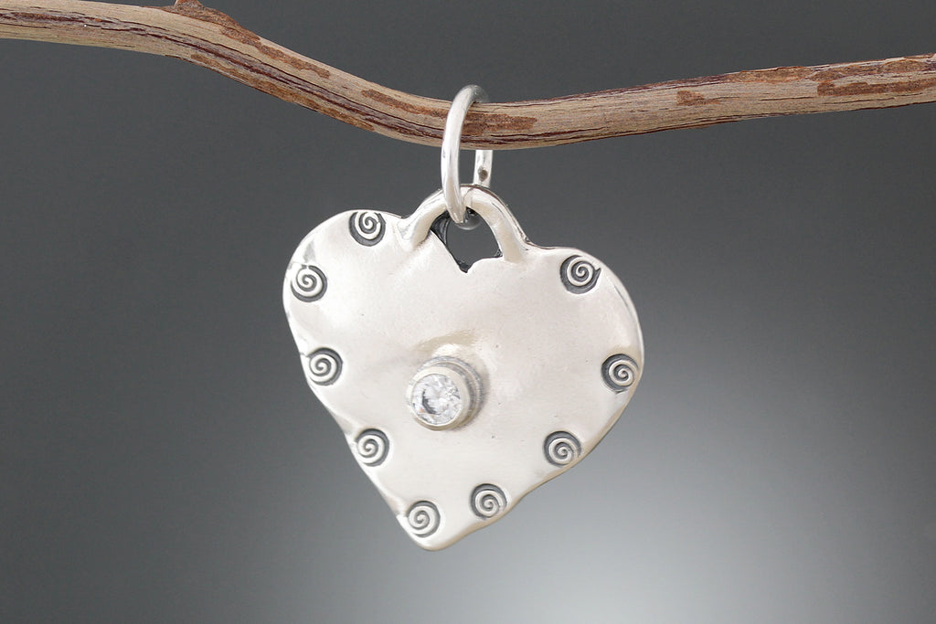 Sterling Silver Stamped Heart Pet Tag with CZ