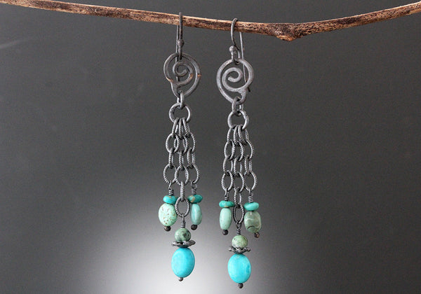 Sterling Silver Oxidized Turquoise Spiral Earrings