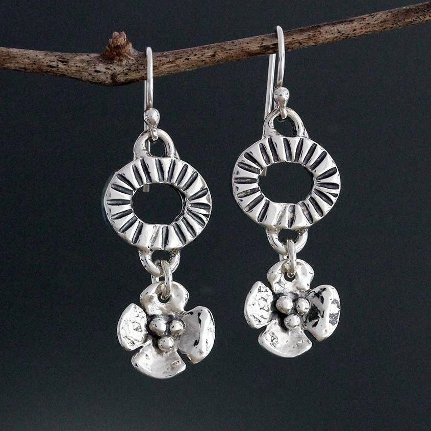 Sterling Silver Element with Dogwood Drop Earrings