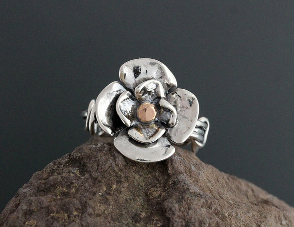 Sterling Silver Wrapped Vine Dogwood Ring with Rose Gold Center