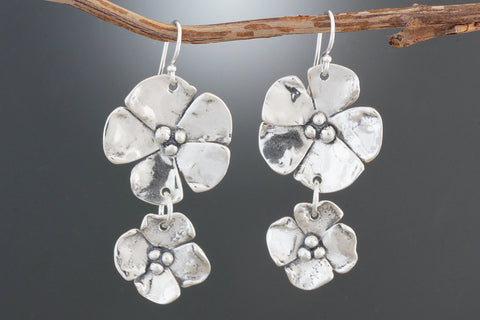 Sterling Silver Flower with Dogwood Drop Earrings