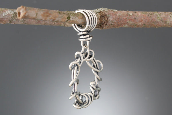 Sterling Silver Wrapped Vine Hoop Pendant