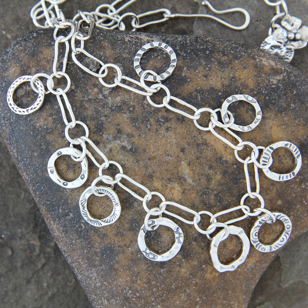 Sterling Silver Stamped Hoop Necklace