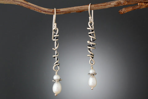 Sterling Silver Wrapped Vine Earrings with Pearl Drop