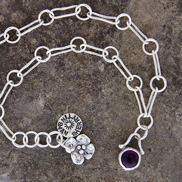 Sterling Silver Anklet with Amethyst Charm
