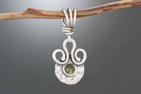 Sterling Silver and Citrine Cabochon Loop Pendant