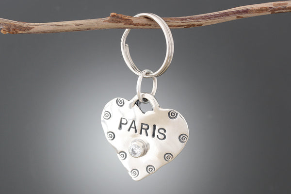 Stamped Heart Pet Tag with CZ