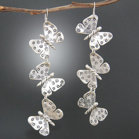 Sterling Silver Triple Butterfly Earrings