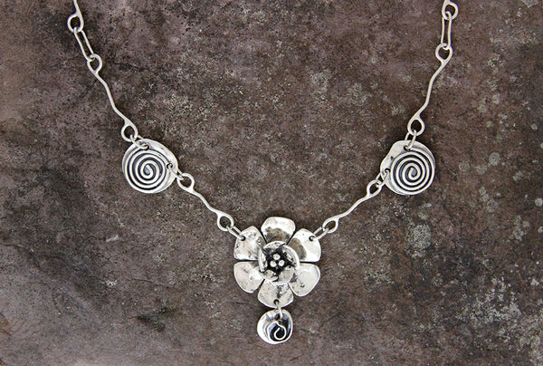 Sterling Silver Rose, Flower and Spiral Jewelry Set
