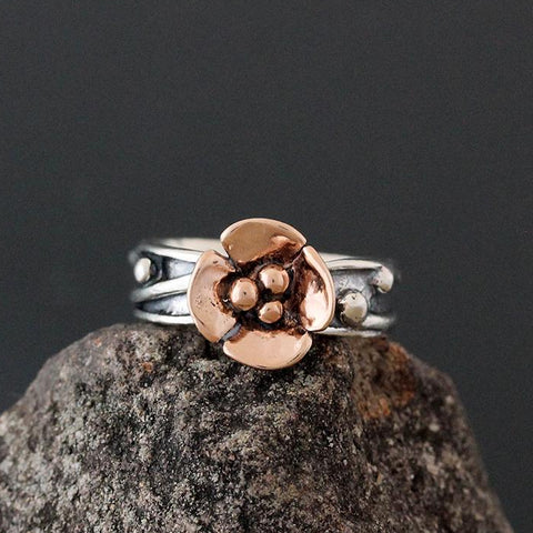 Sterling Silver Vine Ring with Rose Gold Dogwood Flower