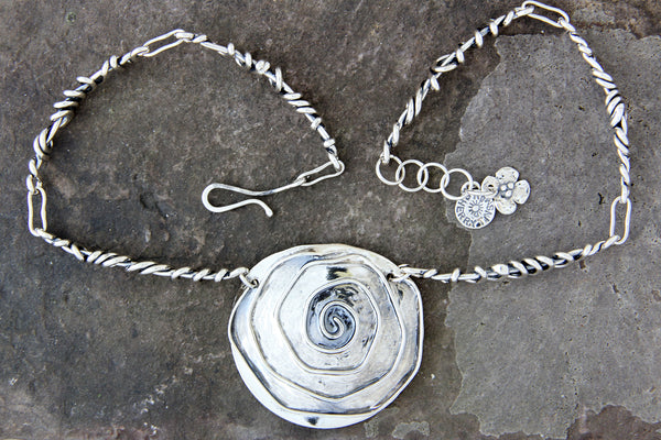 Large Rose Necklace with Wrapped Vine Sides