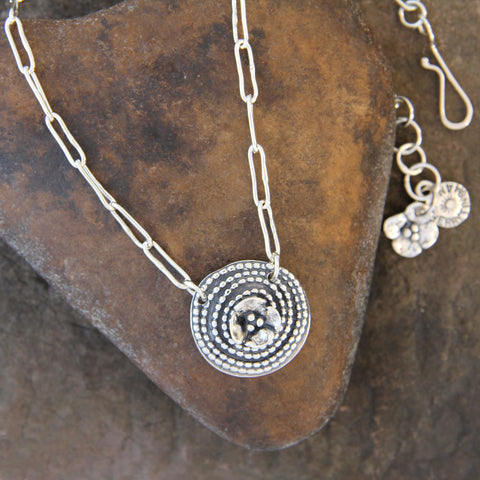 Beaded Spiral Necklace with Dogwood Flower