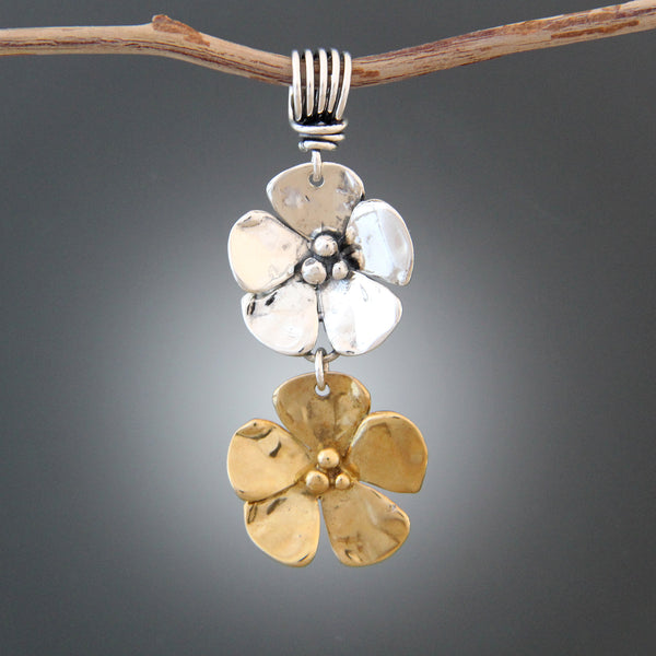 Sterling Silver & Brass Flower Pendant and Earrings Jewelry Set