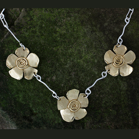 Sterling Silver and Brass Spiral Flower Necklace