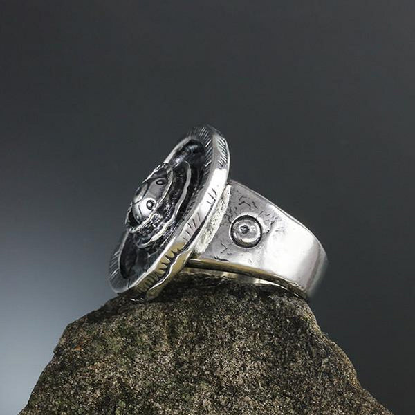 Sterling Silver Large Etruscan Ring - Wide Band