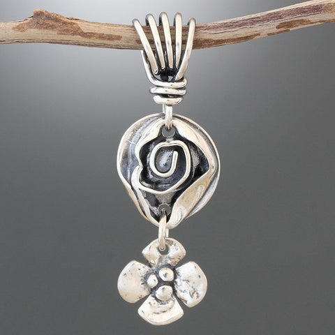 Sterling Silver Rose and Dogwood Pendant