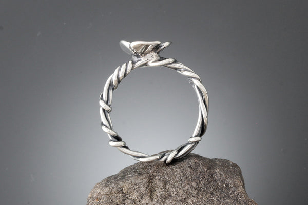 Sterling Silver Wrapped Vine Ring with Dogwood Flower