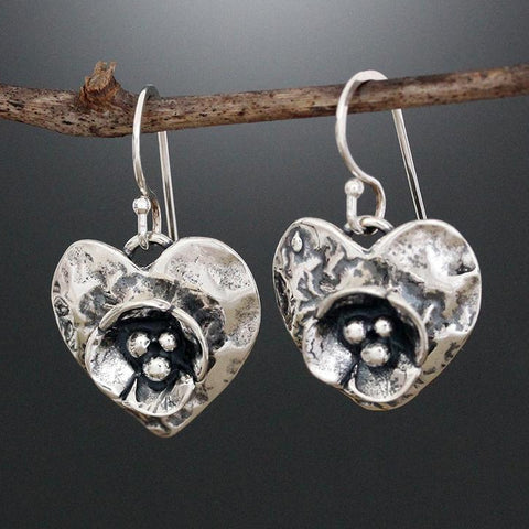 Sterling Silver Heart Earrings with Dogwood Flower