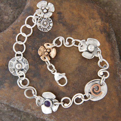 Sterling Silver, Bronze & Copper Spiral Link Bracelet with Amethyst
