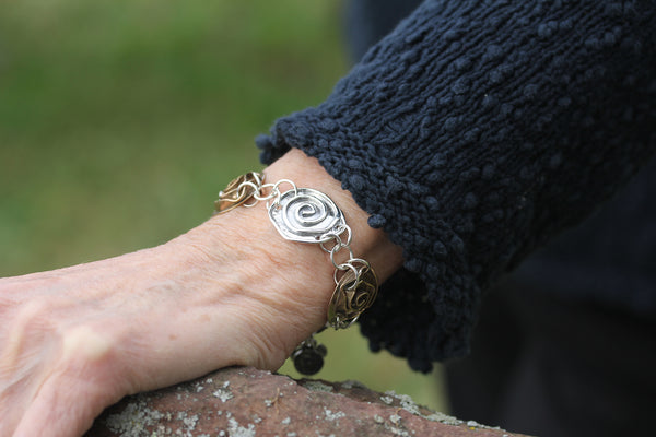 Sterling Silver Spiral and Brass Rose Bracelet