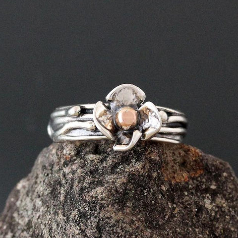 Sterling Silver Vine Ring with a Dogwood Flower and Rose Gold Ball