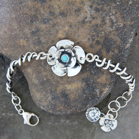 Sterling Silver & Turquoise Double Dogwood Flower Bracelet