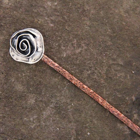 Copper & Sterling Silver Rose Hair Stick