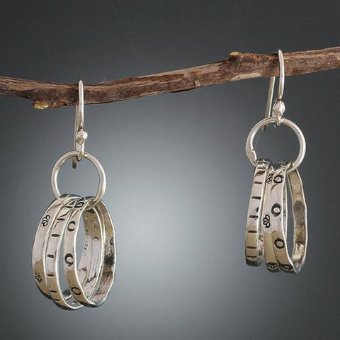 Sterling Silver Triple Hoop Cluster Earrings