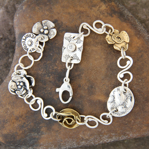 Sterling Silver & Brass Spiral Link Element Bracelet