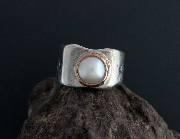 Sterling Silver Eileen Pearl Ring with Rose Gold Bezel