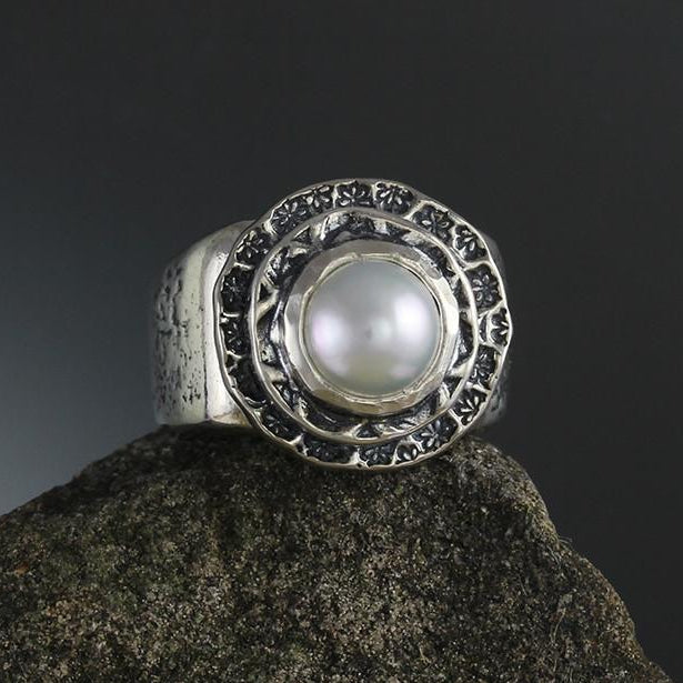 Pearl in Double Textured Bezel Ring