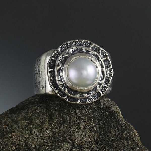 Sterling Silver Pearl in Double Textured Bezel Ring