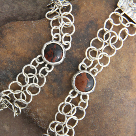 Chain Mail Bracelet with Obsidian