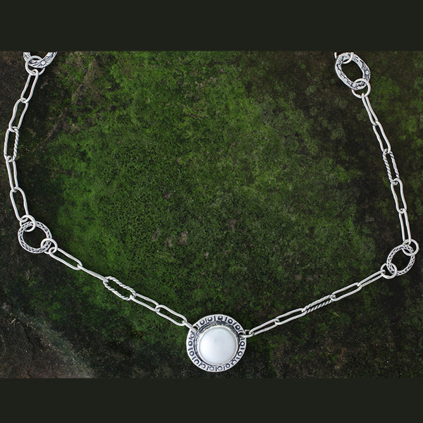Sterling Silver and Pearl Necklace with Back Piece