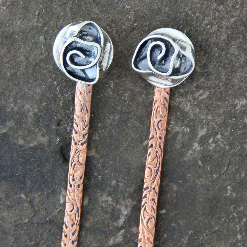 Small Sterling Silver Rose & Copper Hair Stick