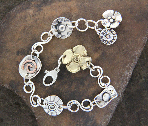 Sterling Silver, Brass & Copper Spiral Link Element Bracelet