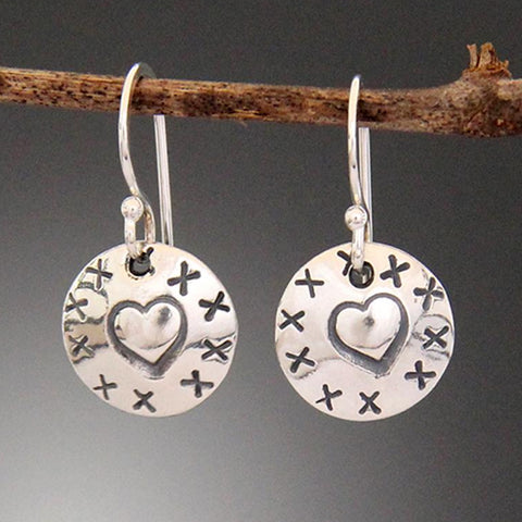Sterling Silver Heart Stamped Disk Earrings with X's