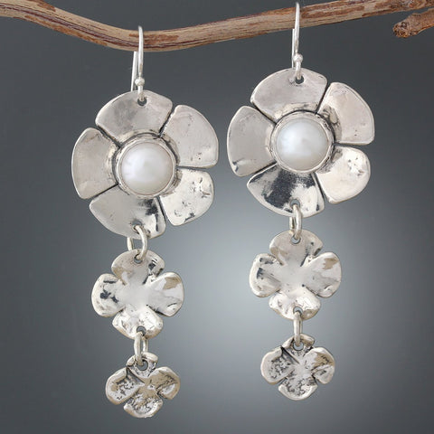 Sterling Silver Pearl Dogwood Flower Earrings with two Flower Drop