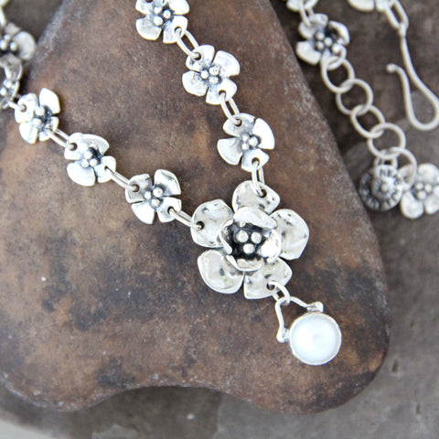 Sterling Silver Dogwood and Pearl Statement Necklace