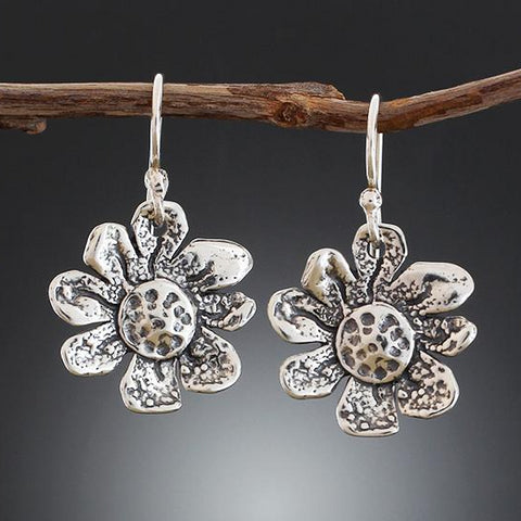 Sterling Silver Small Sunflower Earrings