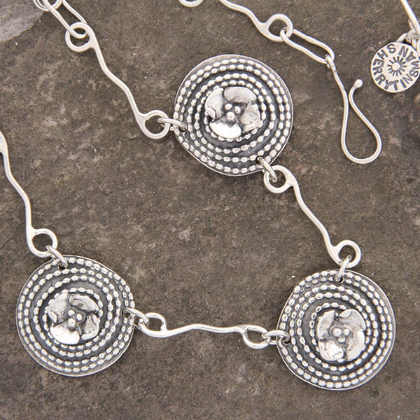 Sterling Silver Beaded Spiral and Dogwood Flower Necklace
