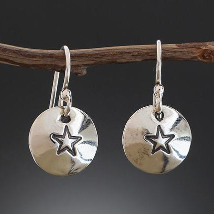 Sterling Silver Star Stamped Disk Earrings