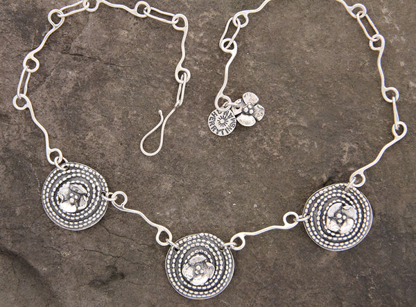 Beaded Spiral and Dogwood Flower Necklace