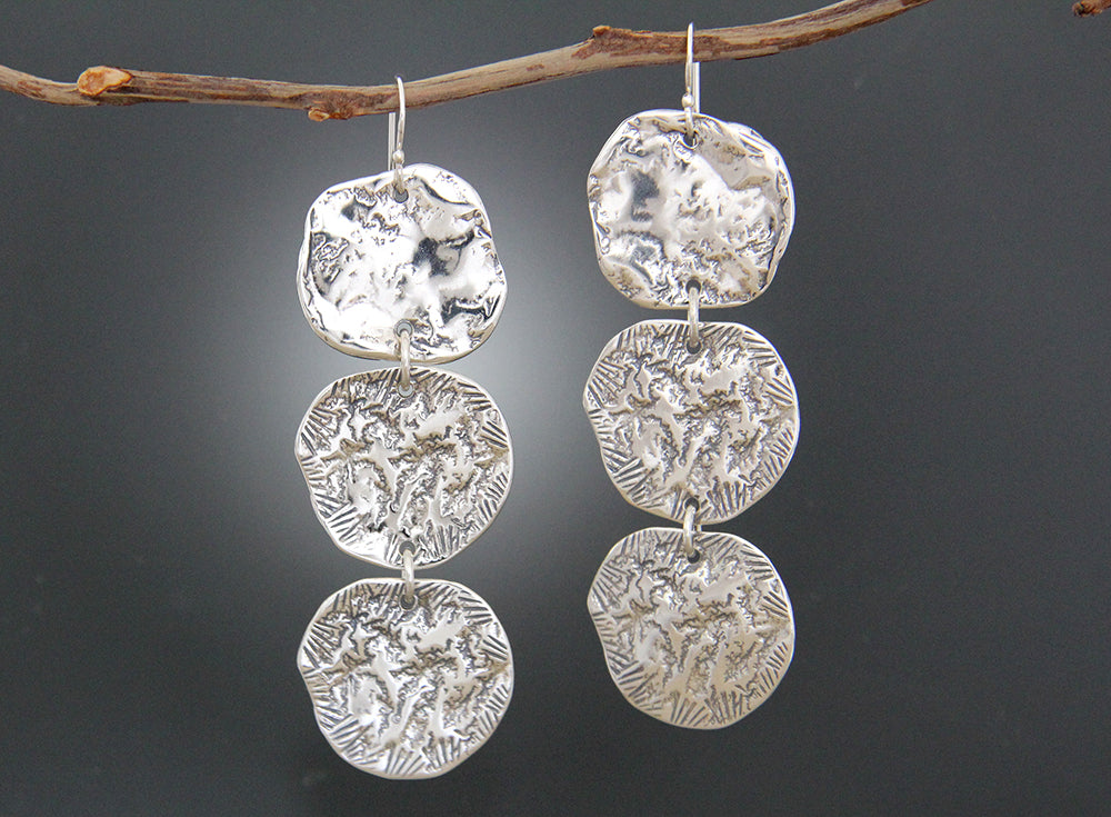 Sterling Silver Disk Statement Earrings