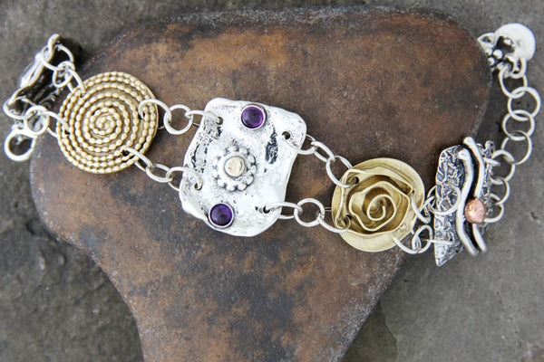 Five Element Mixed Metal Bracelet with Amethyst