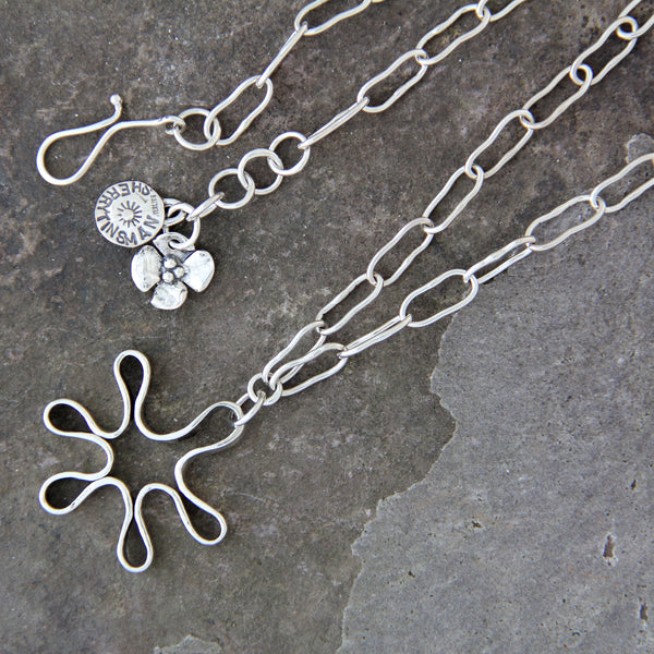 Sterling Silver Mod Flower Necklace