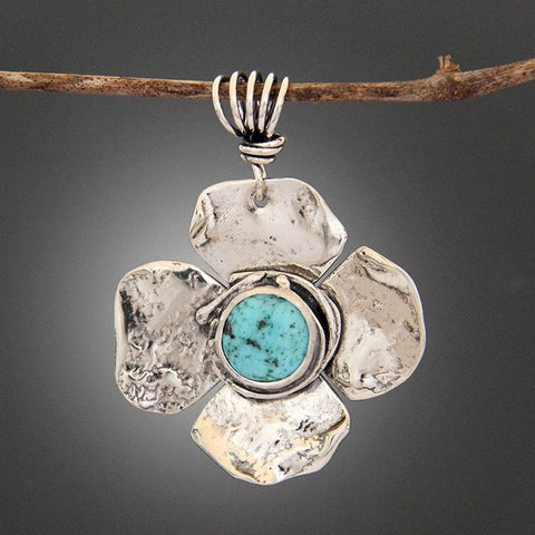 Sterling Silver Speckled Turquoise Flower Pendant