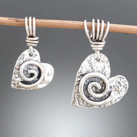 Sterling Silver Heart Pendant with Spiral